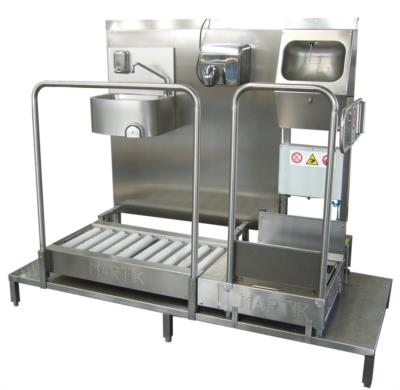 hands sole cleaner sanitizing station in stainless steel
