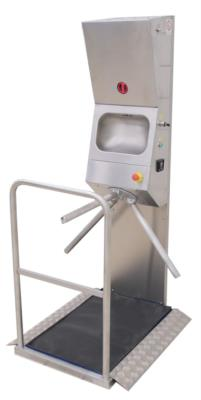 hands hygiene station with access control in stainless steel